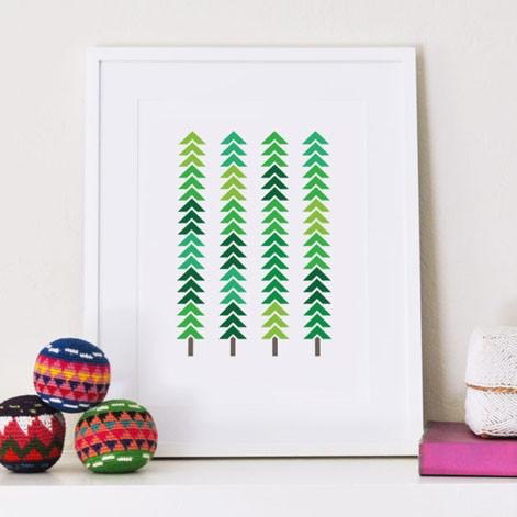 Geometric Trees Art Print