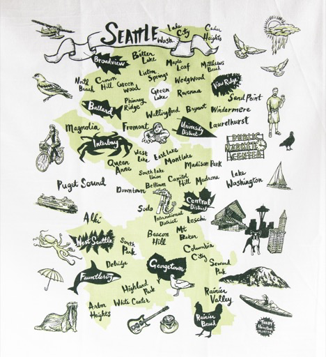 Seattle Neighborhoods Tea Towel, Green