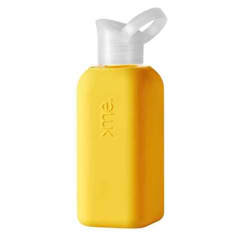 Glass + Silicone Water Bottle, Yellow