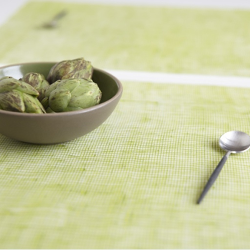 Place Mat, Linen, Green Apple