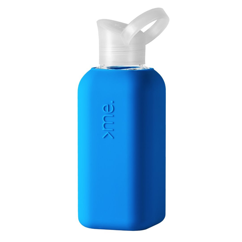 Glass + Silicone Water Bottle, Blue