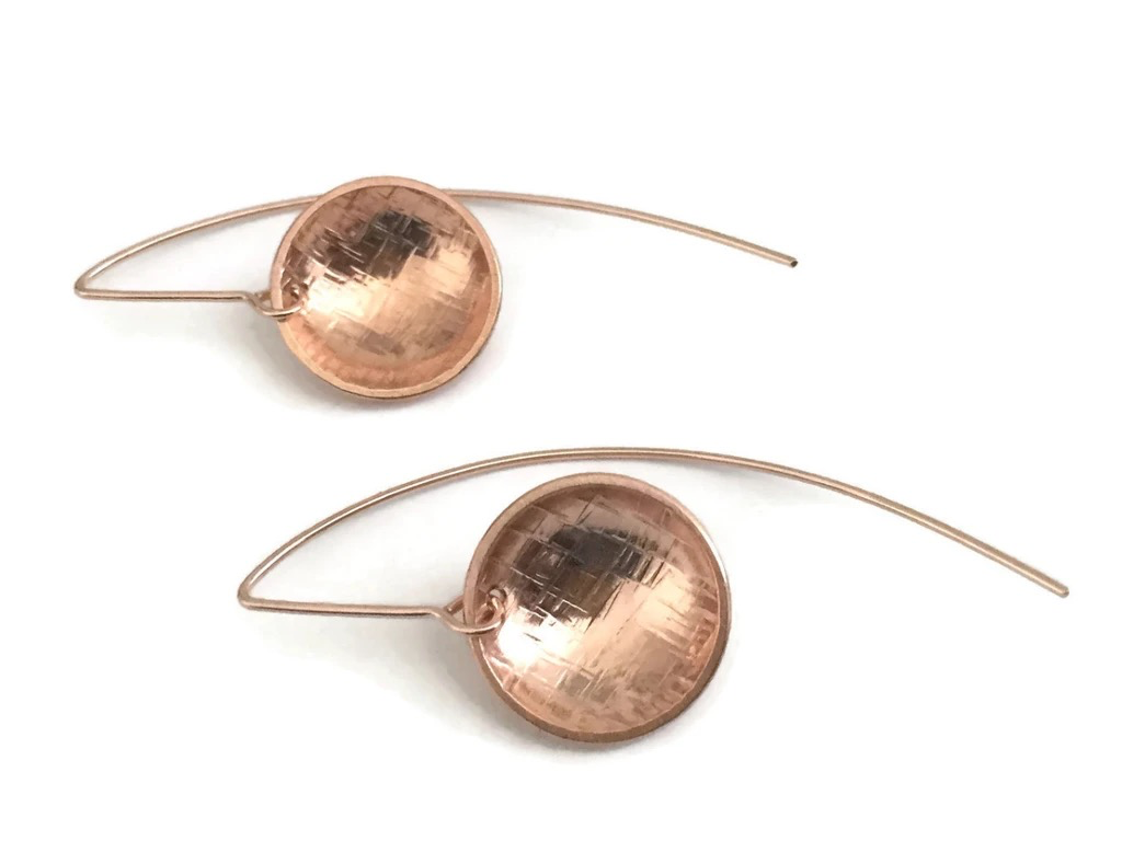 Swoopy Concave Earrings - Rose Vermeil