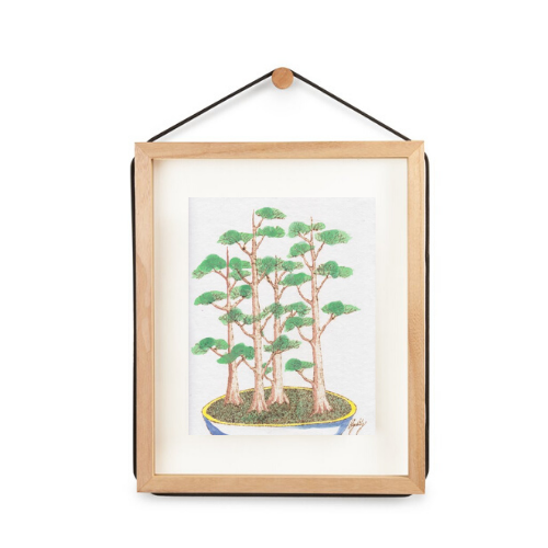Bonsai Forest, Burned Paper + Watercolor, Framed