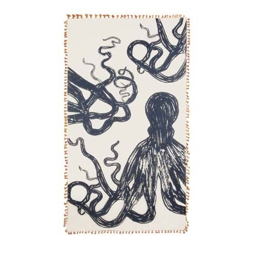 Silk + Cotton Scarf / Wrap, Octopus Sketch