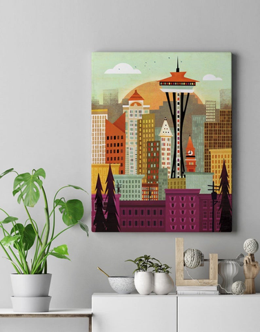 Seattle Skyline Canvas Print 24x30