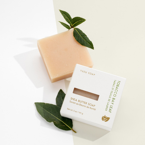 Shea Butter Soap Bar, Tobacco + Bay Leaf