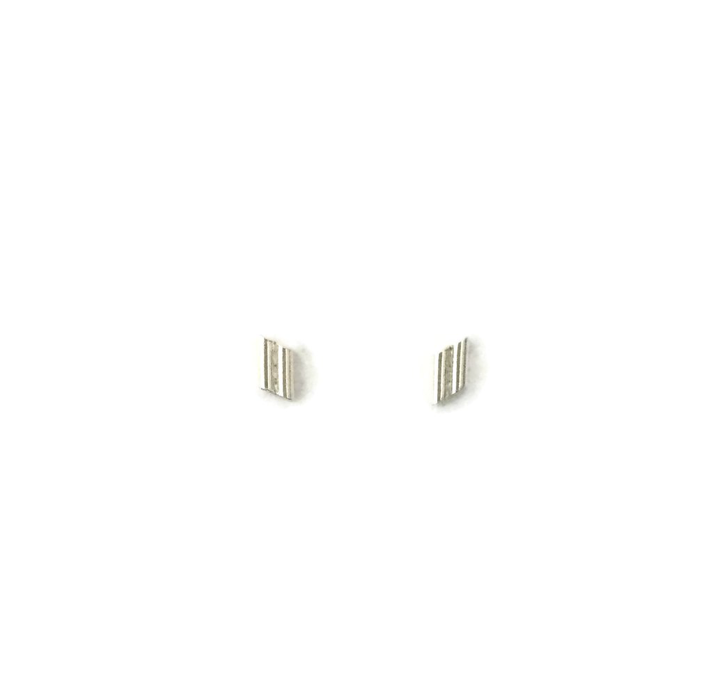 Rain City Forge Corrugated Stud Earrings, 2 Bar Silver
