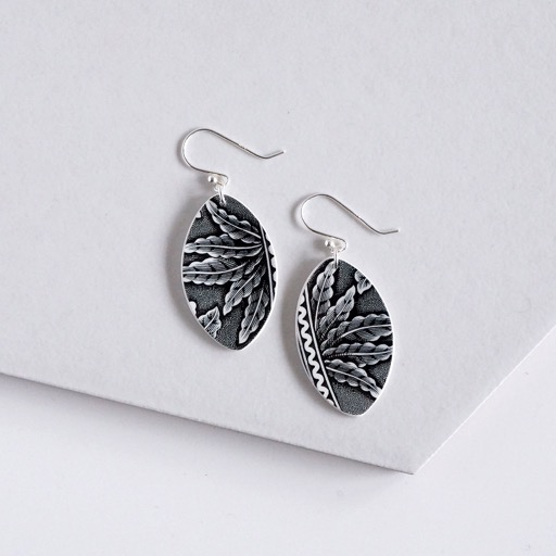 Black Fern Earrings