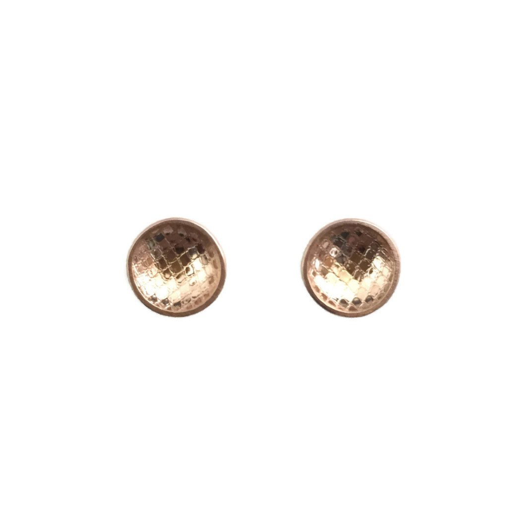 Rain City Forge Concave Large Stud Earrings, Tulle Rose Gold