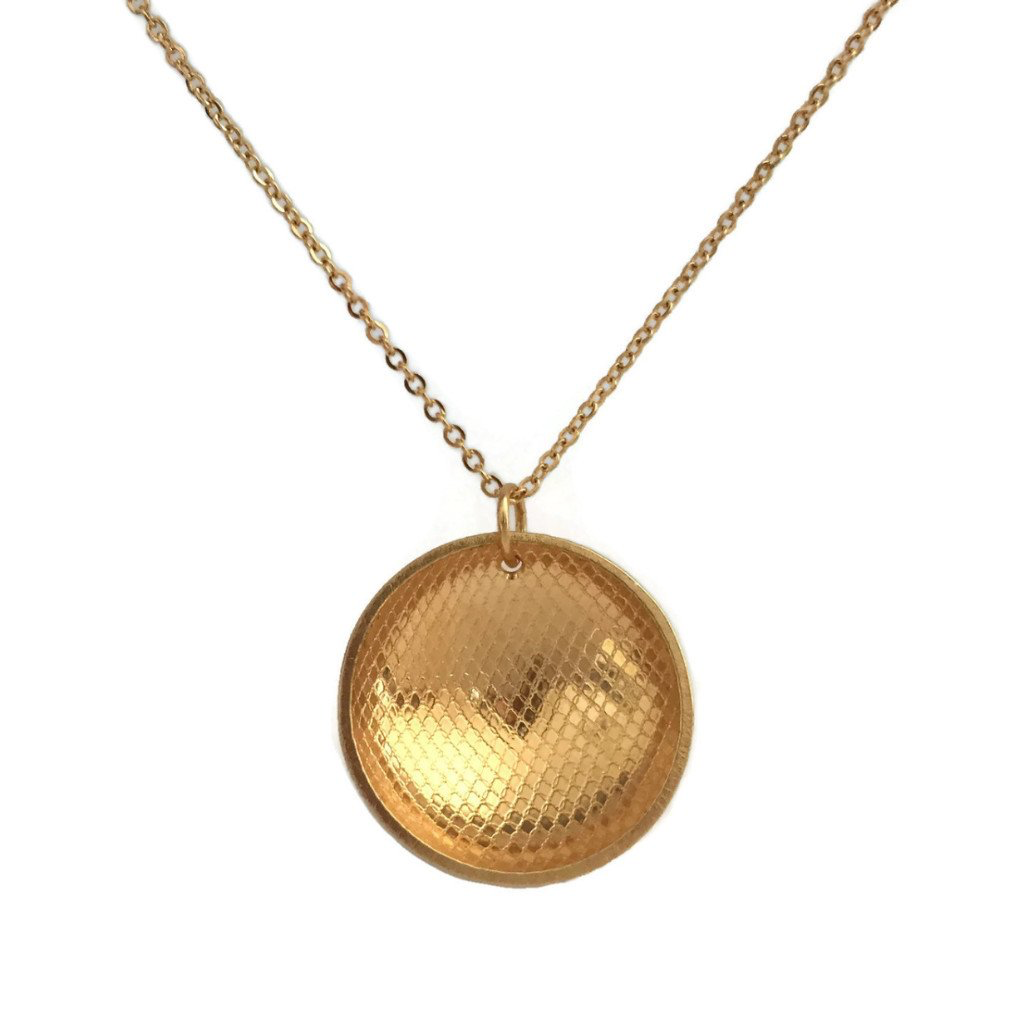 Rain City Forge Concave Small Necklace, Tulle Gold