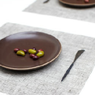 Place Mat, Linen, Chocolate