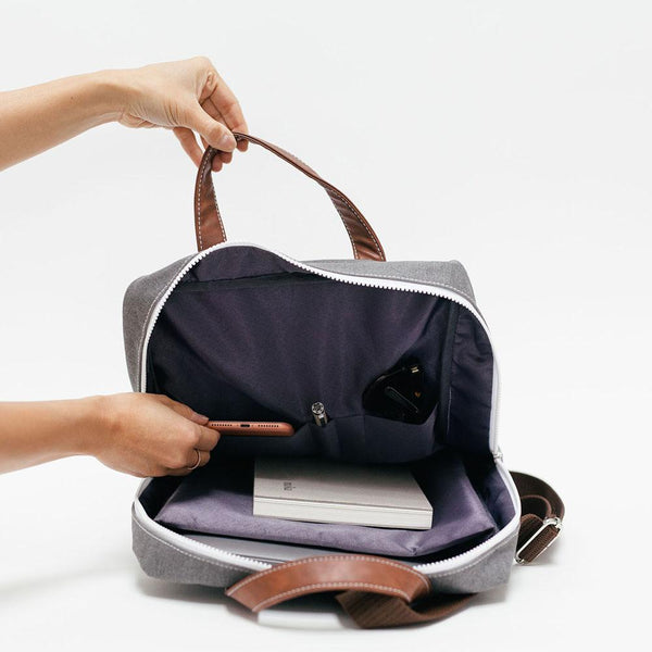 Canvas + Vegan Leather Backpack, Tansy