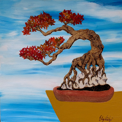 Rock Bonsai, 8x8 Woodburn art