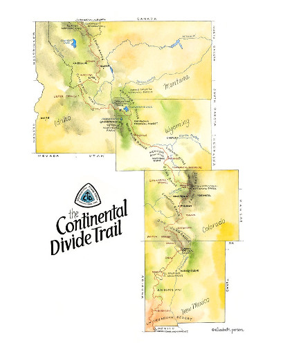 Continental Divide Trail, Ink + Watercolor Original