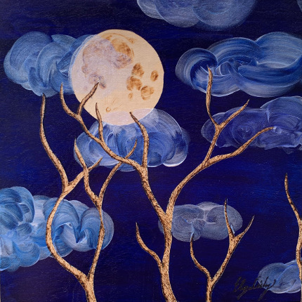 Moonlit Branches, 8x8 Woodburn art