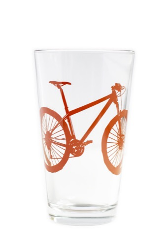 Bike Pint Glass, Red Clay