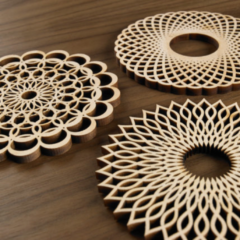 Laser Cut Wood Coasters - Spirals