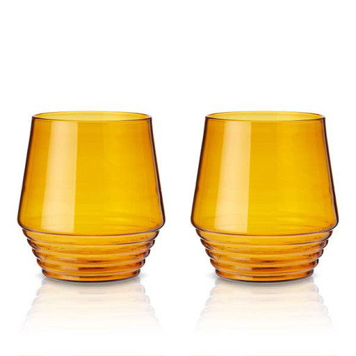 Amber Deco Glasses, Set of 2