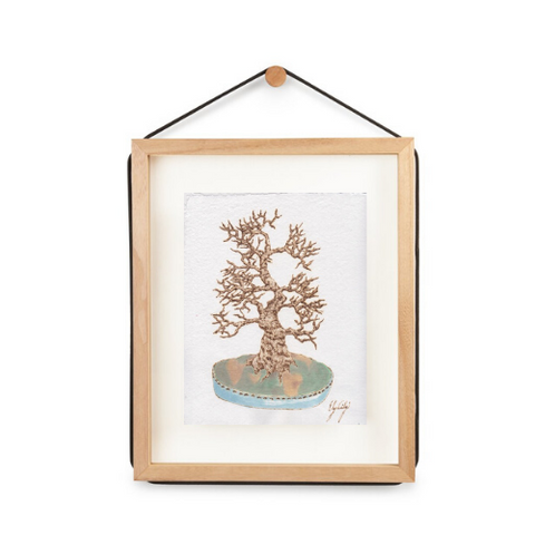 Tall Stewartia, Burned Paper + Watercolor, Framed