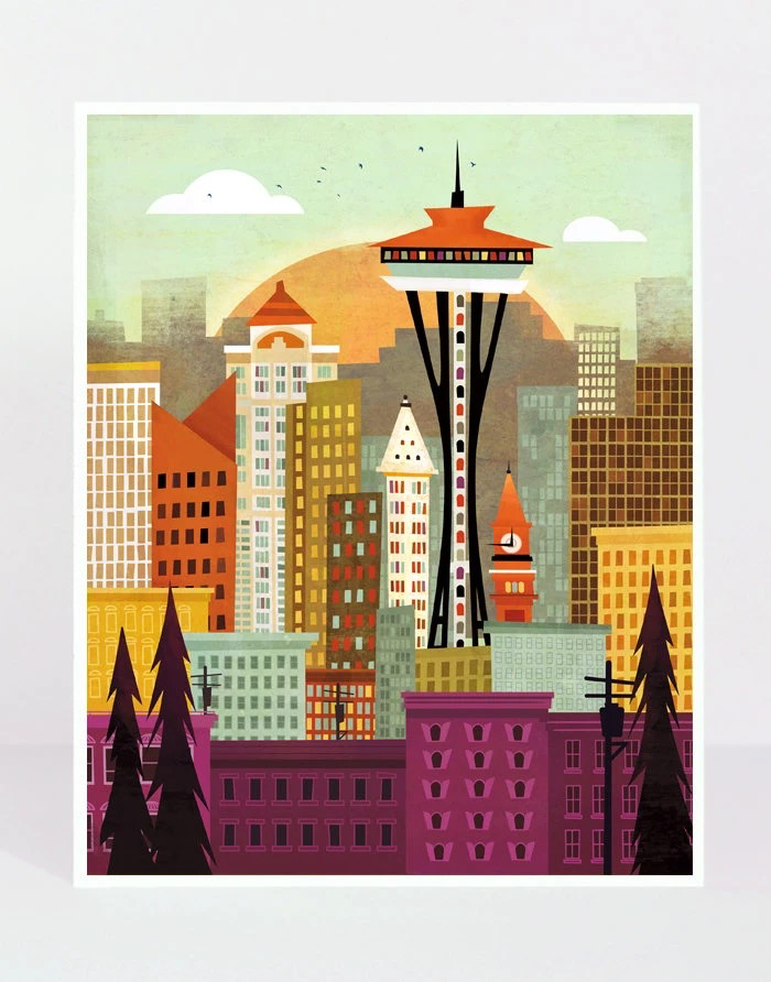 Seattle Skyline Print, 11x14
