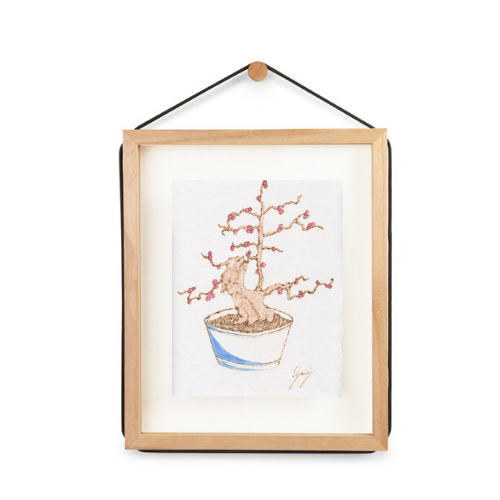 Japanese Winterberry, Burned Paper + Watercolor, Framed