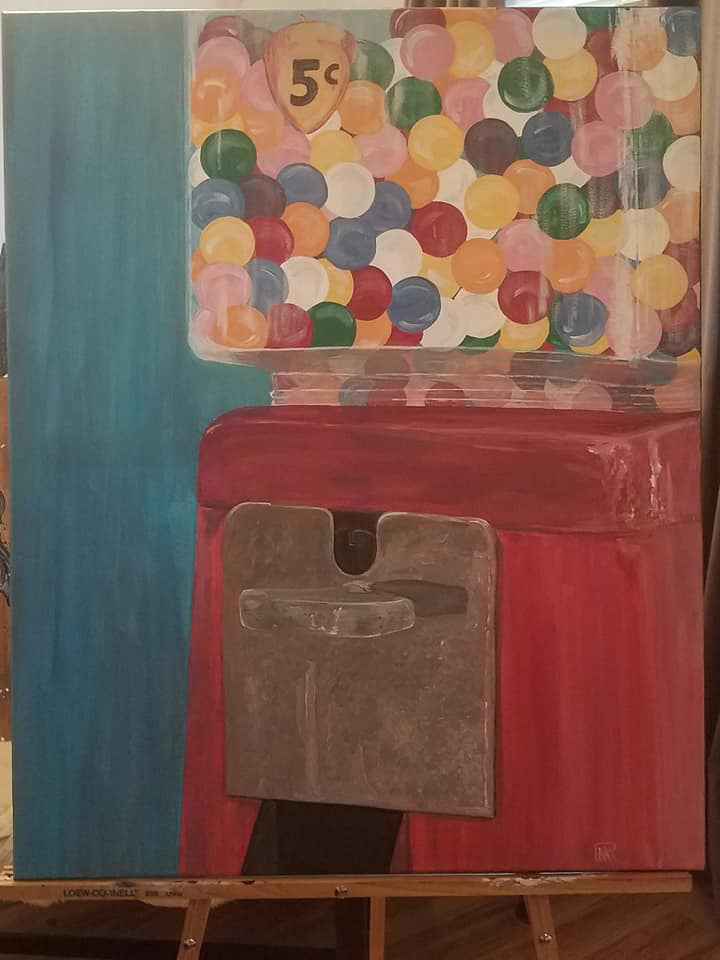 5 cent Gumball Machine - The 70's Series - Acrylic on Canvas