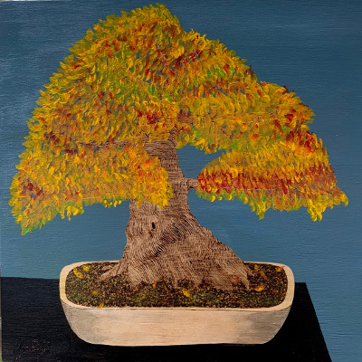 Japanese Maple, 10x10 Woodburn art