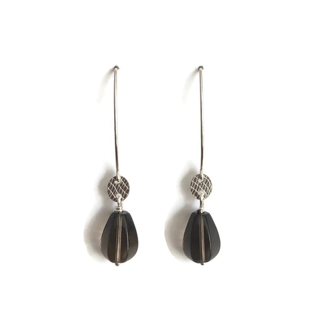 Laila Earrings - Smoky Quartz Drop