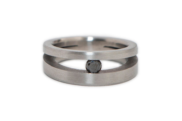 Black Diamond and Stainless Steel Ring