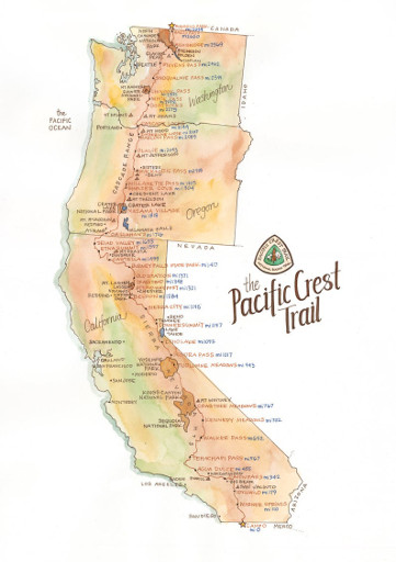 Pacific Crest Trail Print, 18x24