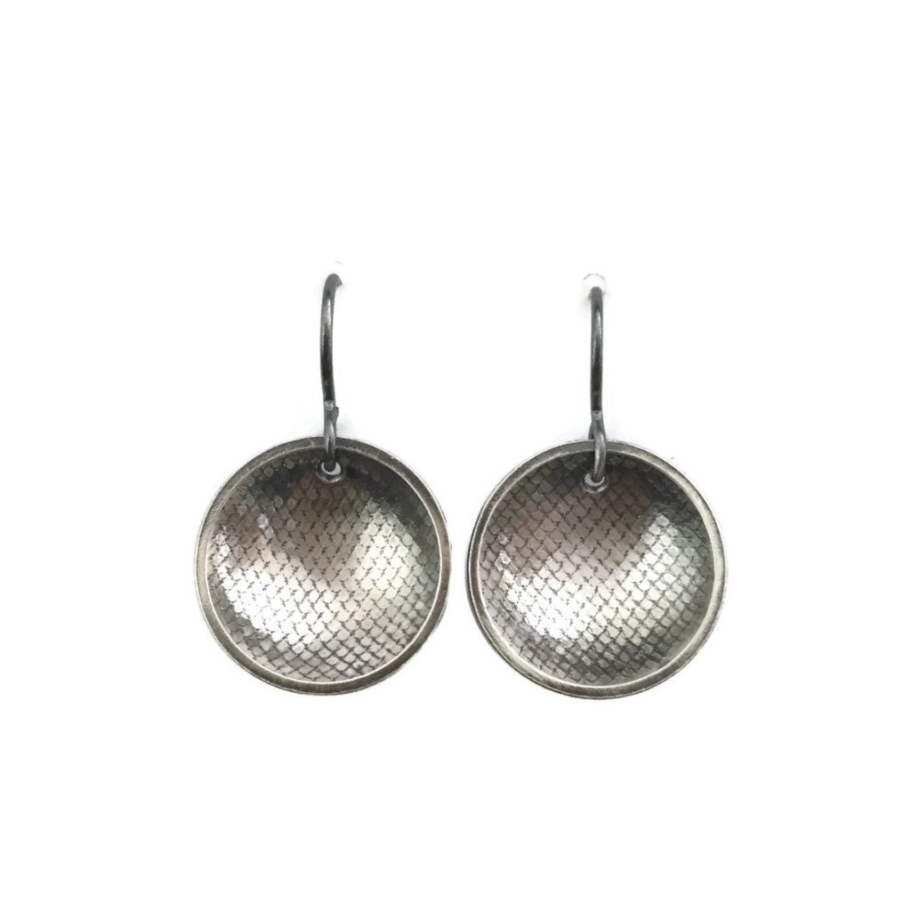 Rain City Forge Concave Earrings, French Dark Silver