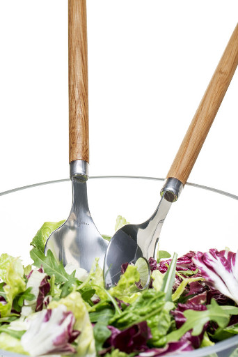 Wood and Steel Salad Servers