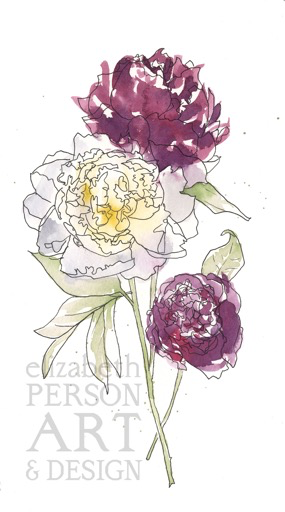 Peony Bloom II, Ink + Watercolor Original