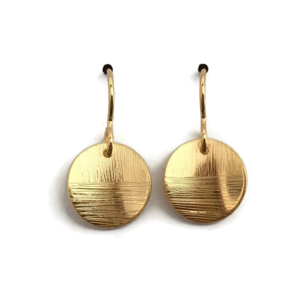 Rain City Forge Linear Short Earrings, Gold