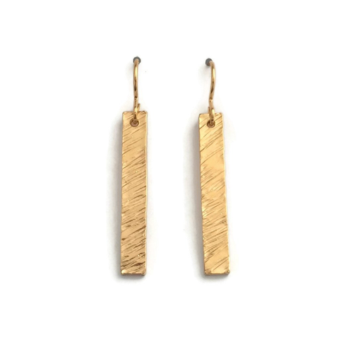 Rain City Forge Barred Short Earrings, Hatch Gold