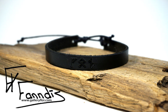 Leðurarmband með Víkinga rúnum (Von) / Leather bracelet with Viking runes (Hope)