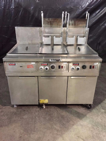 Used-Frymaster FM245EBLSC Filter Magic II 2 Bank Fryer w/ Dump Station-BUYREL
