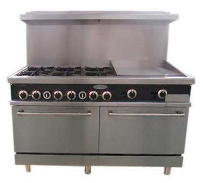"ServWare SGR-6-24 60"" gas range w/ double ovens 6 B 24"" griddle  BRAND NEW"