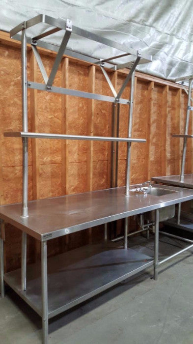 Used-Stainless Steel Chef's Station w/ Marine Edge Table, Sink & Pot Rack-BUYREL