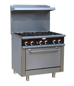 New-ServWare SGR-6 6 burner gas range w/ full size oven
