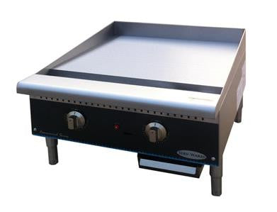 "ServWare STG-24 24"" thermostatic gas griddle"