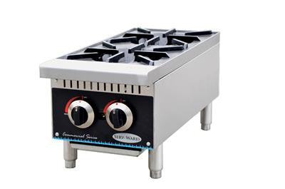 "ServWare SHP-12 two burner 12"" gas hot plate"