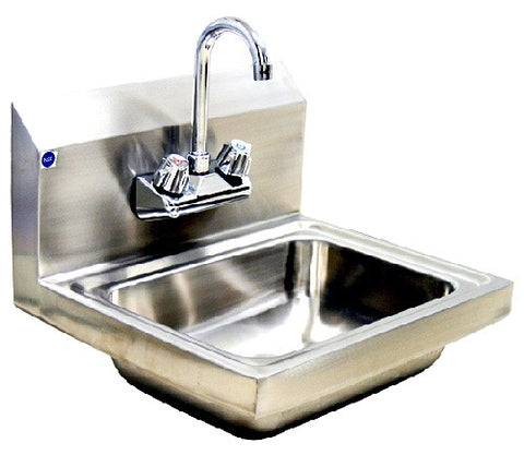 BSH-14-Hand Sink with Splash Guard & 1 Lead Free Faucet(10x14) & 1 Drain Basket-buyREL