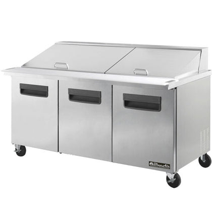 "BAMT72-3 Doors All Stainless Prep. Table with 30 Pans / Mega top, 72""-buyREL"