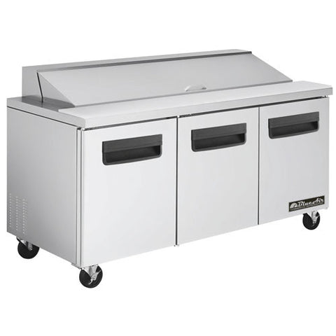 "BAPT72-3 Doors All Stainless Prep. Table with 18 Pans / 72""-buyREL"