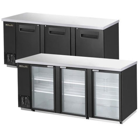 "BBB90-4B-3 Doors Back Bar Cooler, Black Finish Exterior, W90""-buyREL"