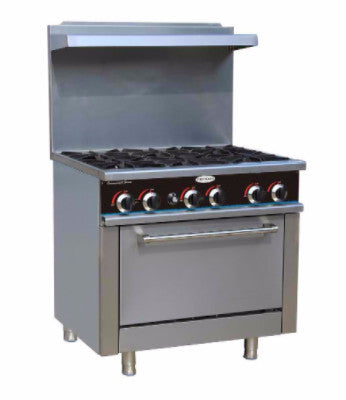 New-ServWare SGR-6 6 burner gas range w/ full size oven BRAND NEW IN BOX-buyREL