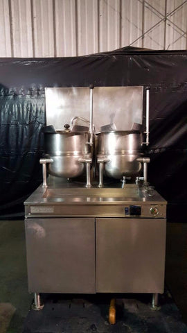 Used-Cleveland 36GMK1010200 (2) 10 Gallon Tilting 2/3 Steam Jacketed Steam Kettles-buyREL