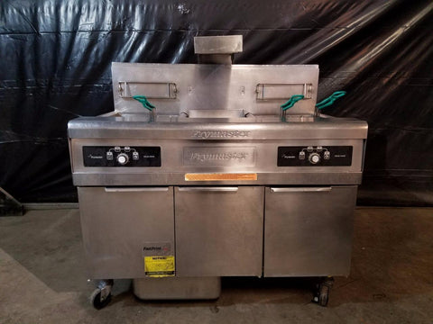 Used-Frymaster FMPH255SC Two Bank Fryer w/ Dump Station & Filtration System-buyREL