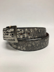 Black and White Lizard 40MM Belt - Black Machine Stitch & Black Edge
